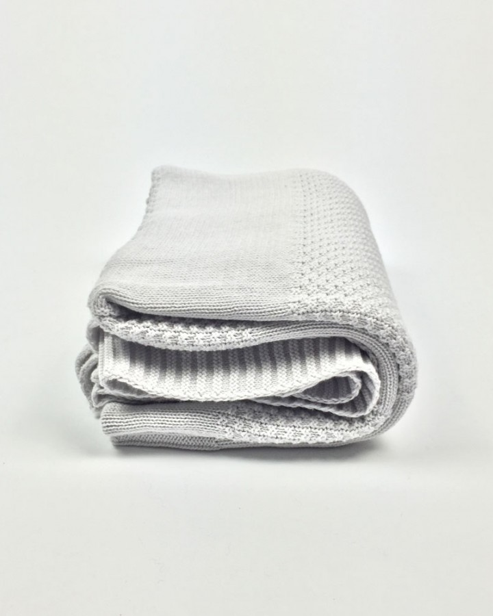 Light Grey Knit Throw Millie Archer Folded