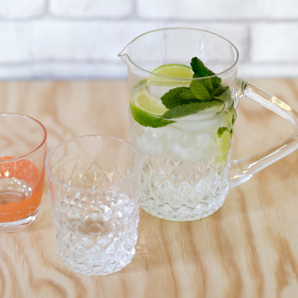Textured clear glass water jug styling