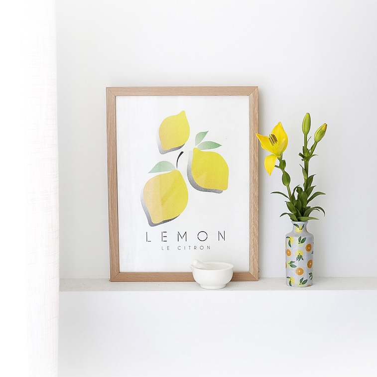Le Citron Wall Art Print with vase