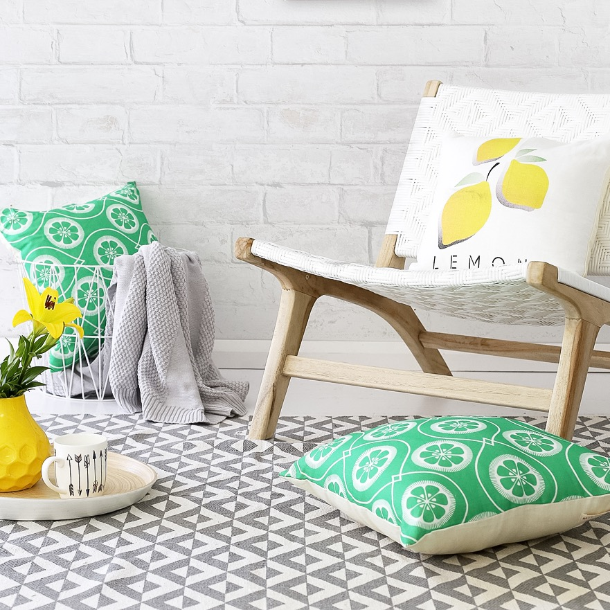 Citrus homewares on Green and Le Citron Cushions
