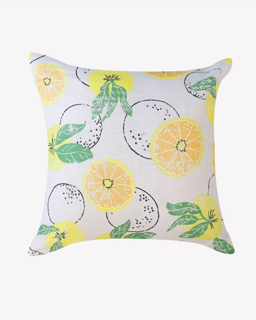 citrus on blue linen cushion retro lemons