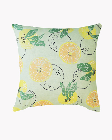 Citrus on Green Linen Cushion Retro