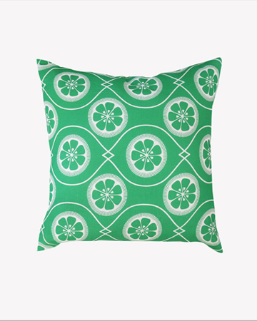 Green Citrus Print Linen Cushion Millie Archer