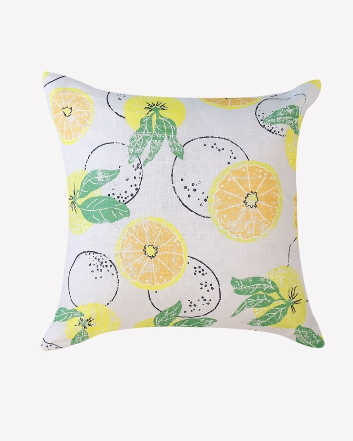 Citrus on blue linen cushion millie archer