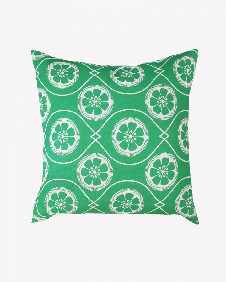 Green Citrus Print Linen Cushion Retro