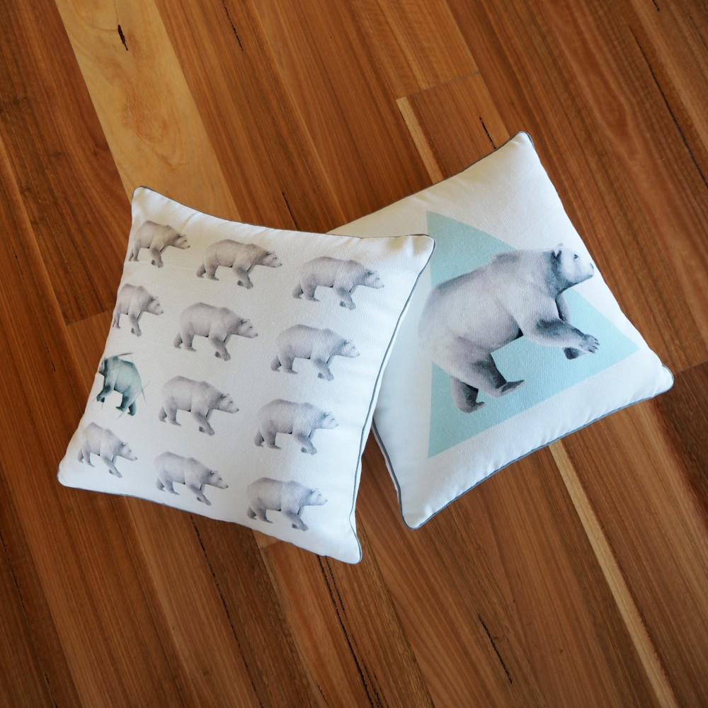 Millie Archer Multi Bear Cushion on floor