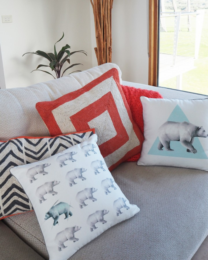 Millie Archer Multi Bear Cushion on sofa